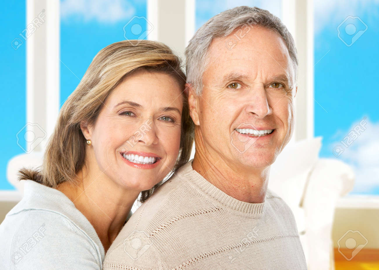 Happy smiling elderly couple at home Stock Photo - 5849612