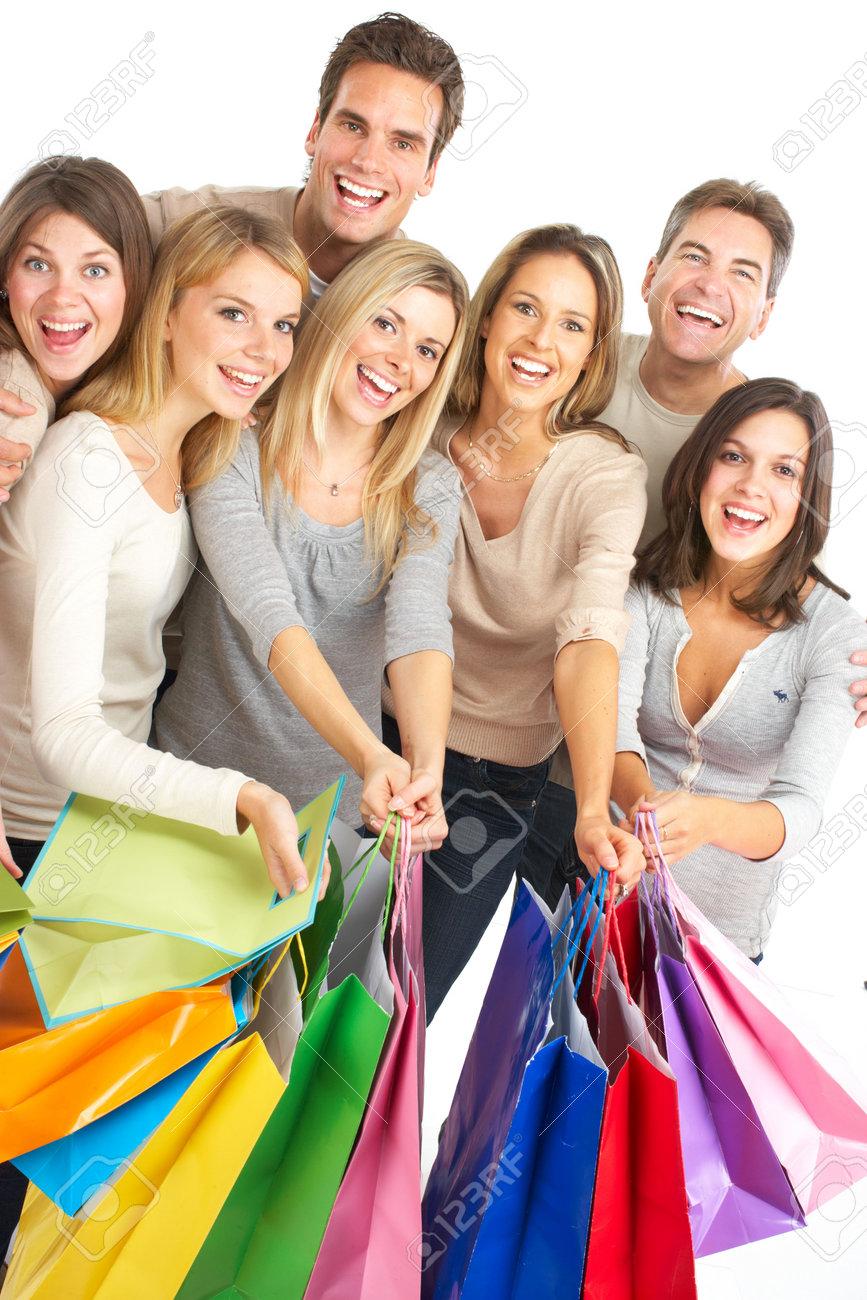 Happy shopping shopping. Isolated over white background Stock Photo - 6024310