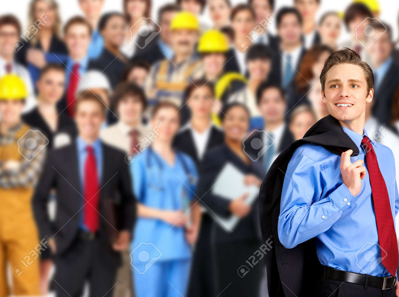 large group of smiling business people, doctors and workers Stock Photo - 6024299