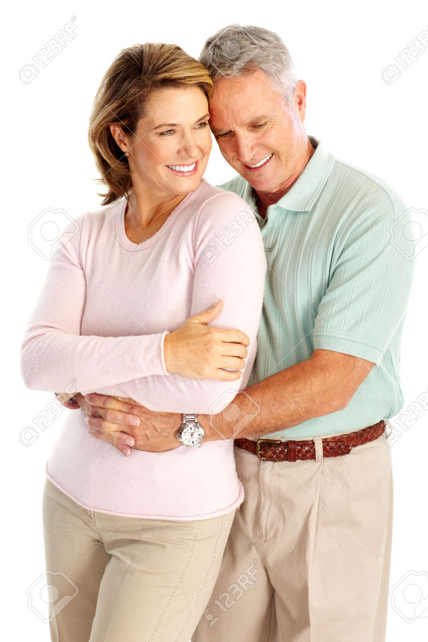 Happy senoirs couple in love. Isolated over white background Stock Photo - 6103658