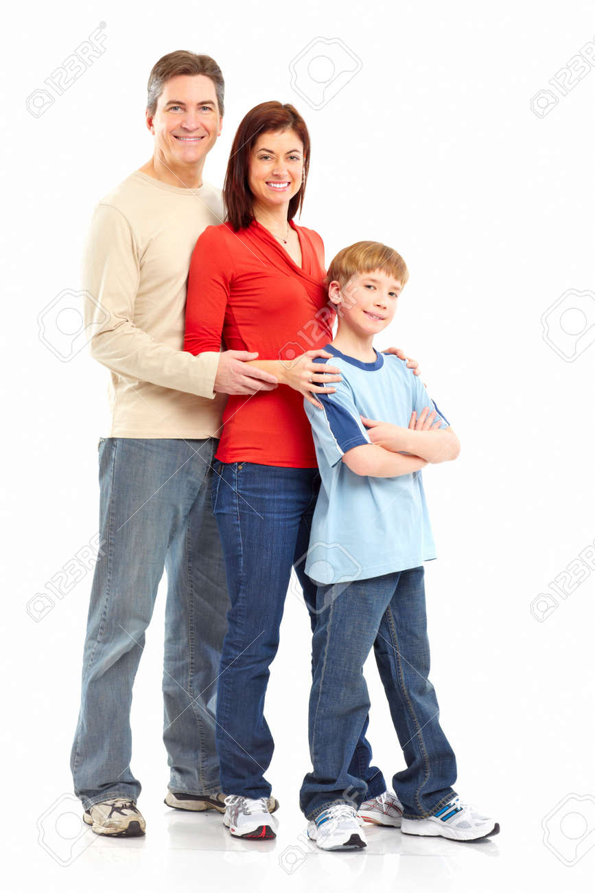 Happy family. Father, mother and boy over white background Stock Photo - 6352751