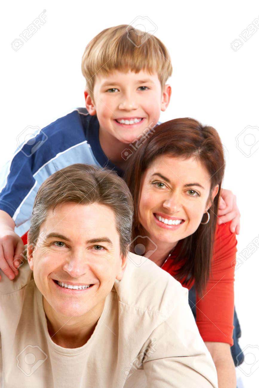 Happy family. Father, mother and boy. Over white background Stock Photo - 6352784