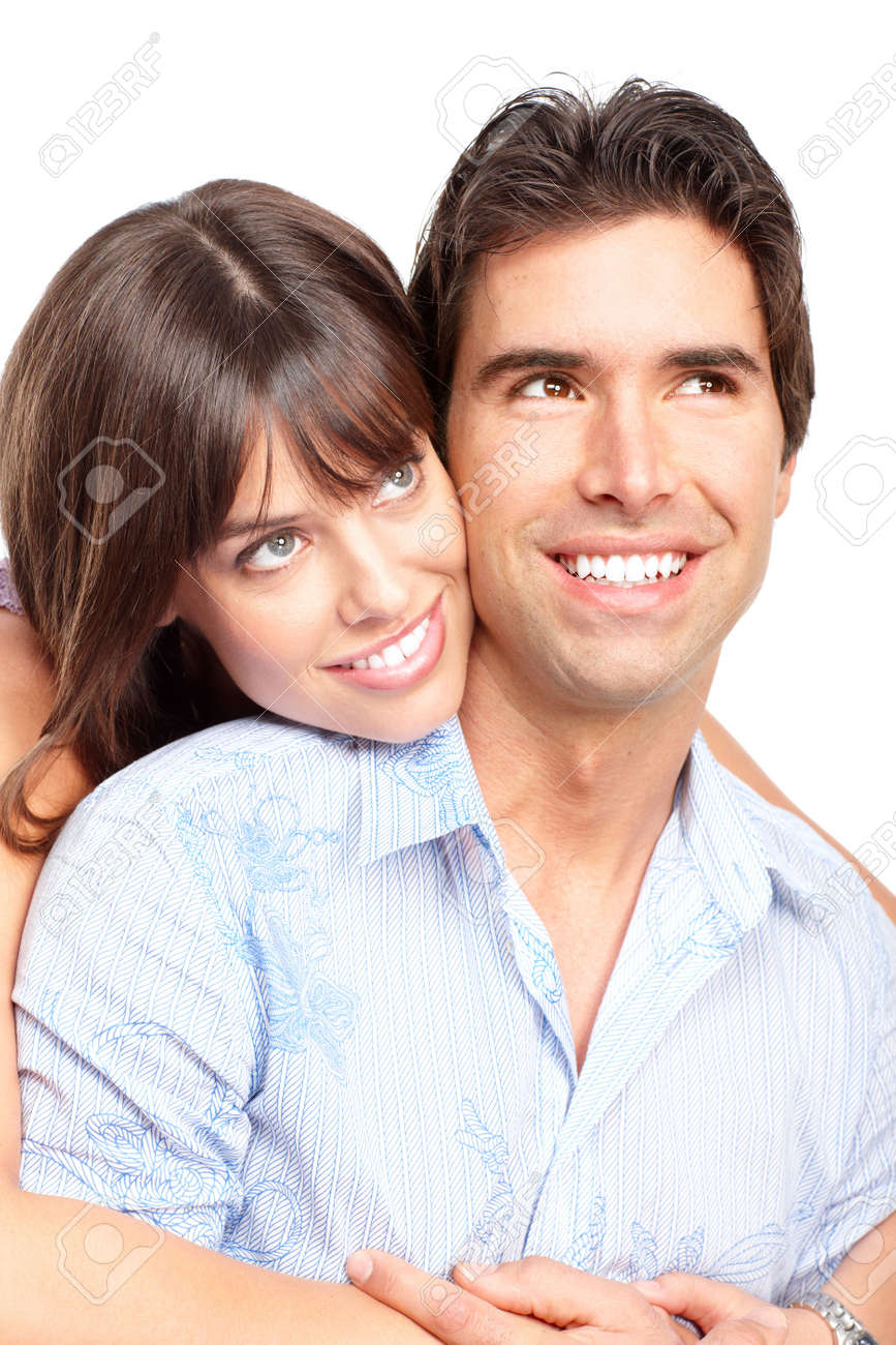 Happy smiling couple in love. Over white background Stock Photo - 6387343