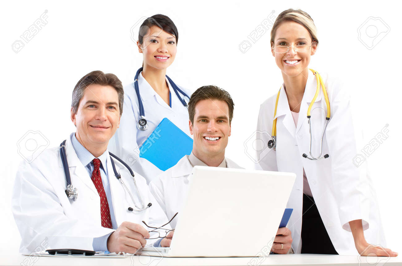 Smiling medical doctors with stethoscopes and computer. Isolated over white background Stock Photo - 6423879
