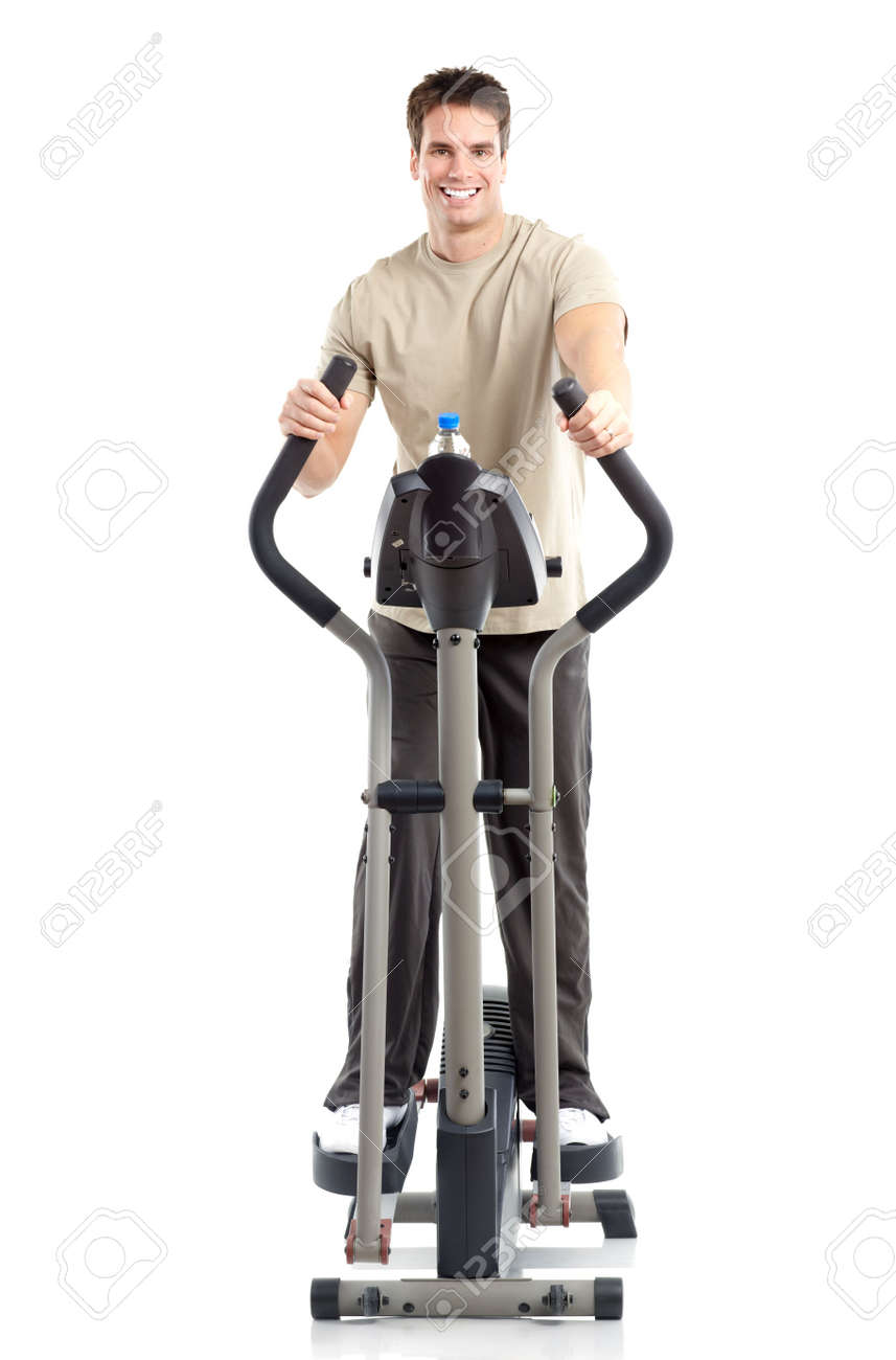 Smiling mature strong man working out. Isolated over white background Stock Photo - 6423958