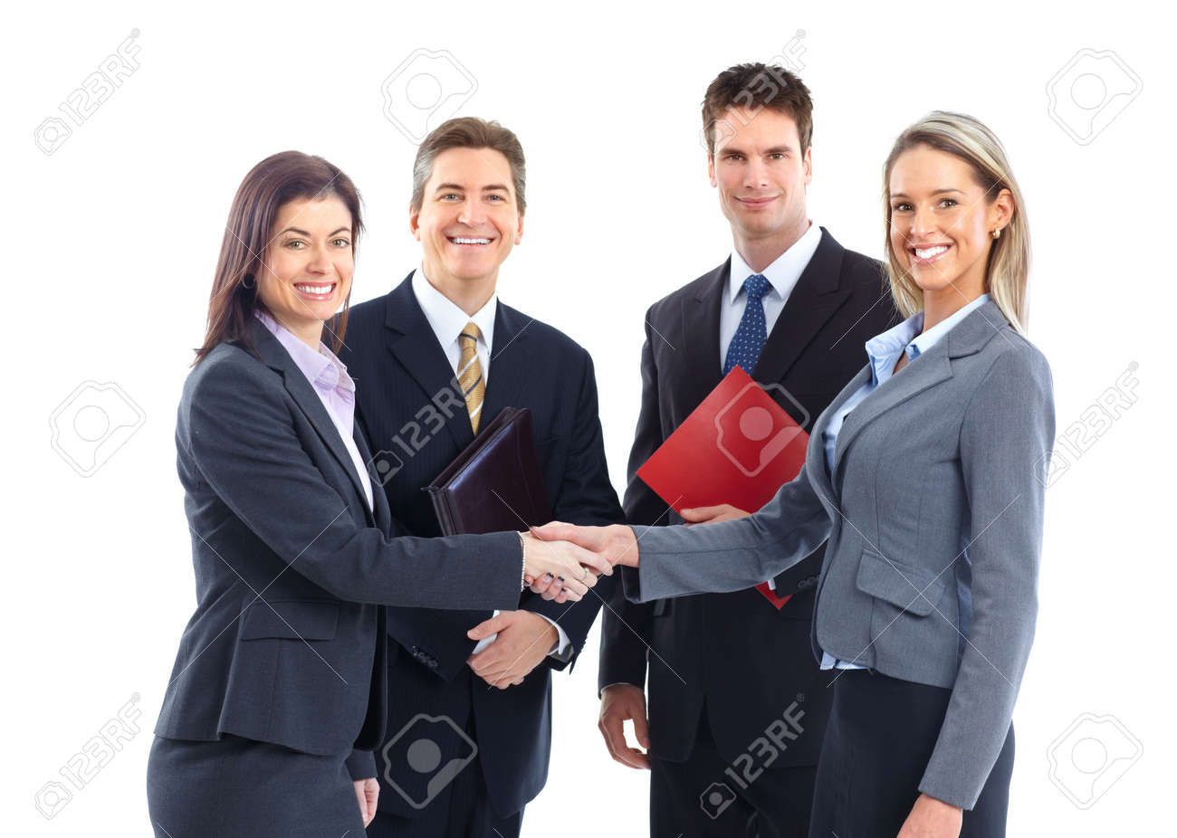 Young smiling  business women and businessmen. Over white background Stock Photo - 6424032
