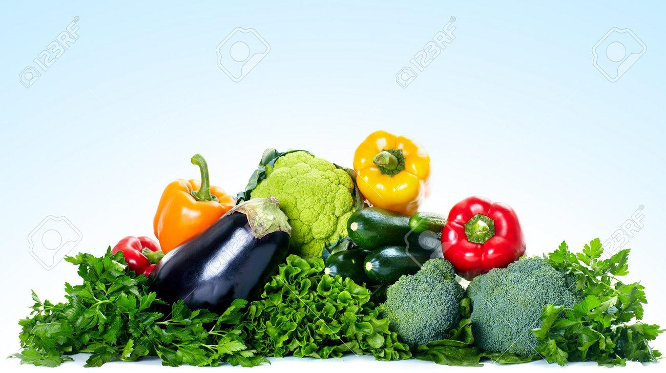 Fresh vegetables. Over blue background - 6424117