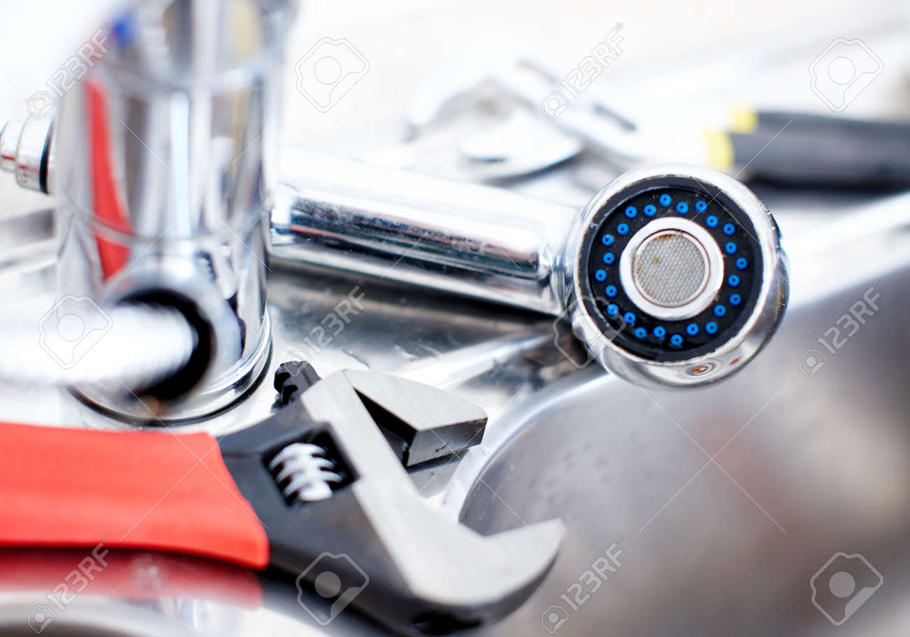 kitchen sink adjustable wrench plumbing plumber tool stock photo 6574077 - Kitchen Sink Wrench