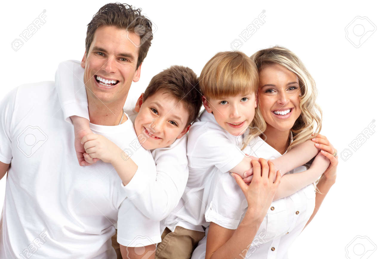 Happy family. Father, mother and children . Over white background Stock Photo - 6608044
