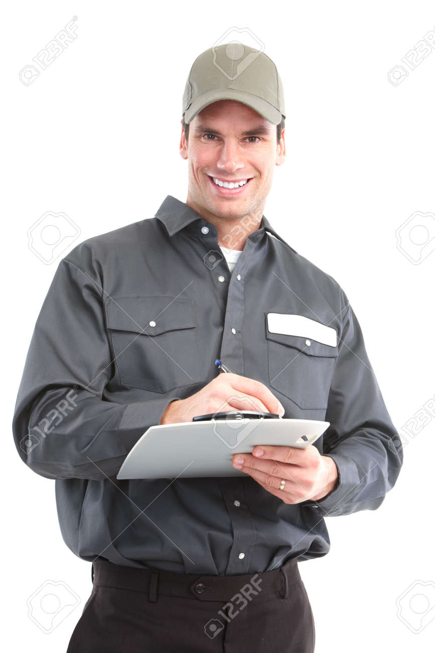 Young handsome worker. Isolated over white background Stock Photo - 6637639