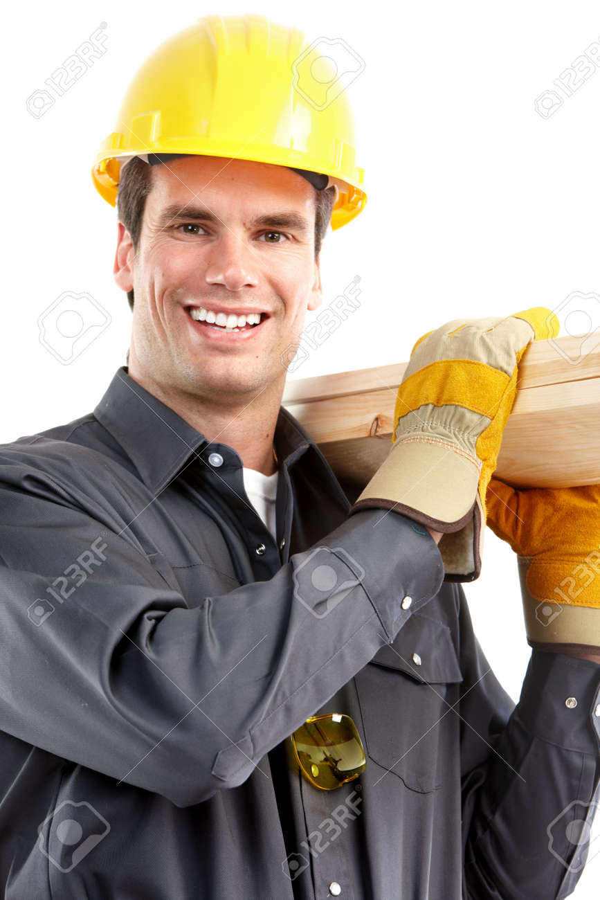 Young handsome builder. Isolated over white background Stock Photo - 6732989