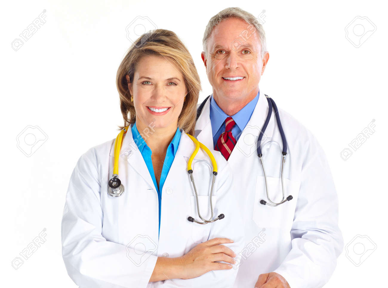 Smiling medical doctors with stethoscope. Isolated over white background Stock Photo - 6744254