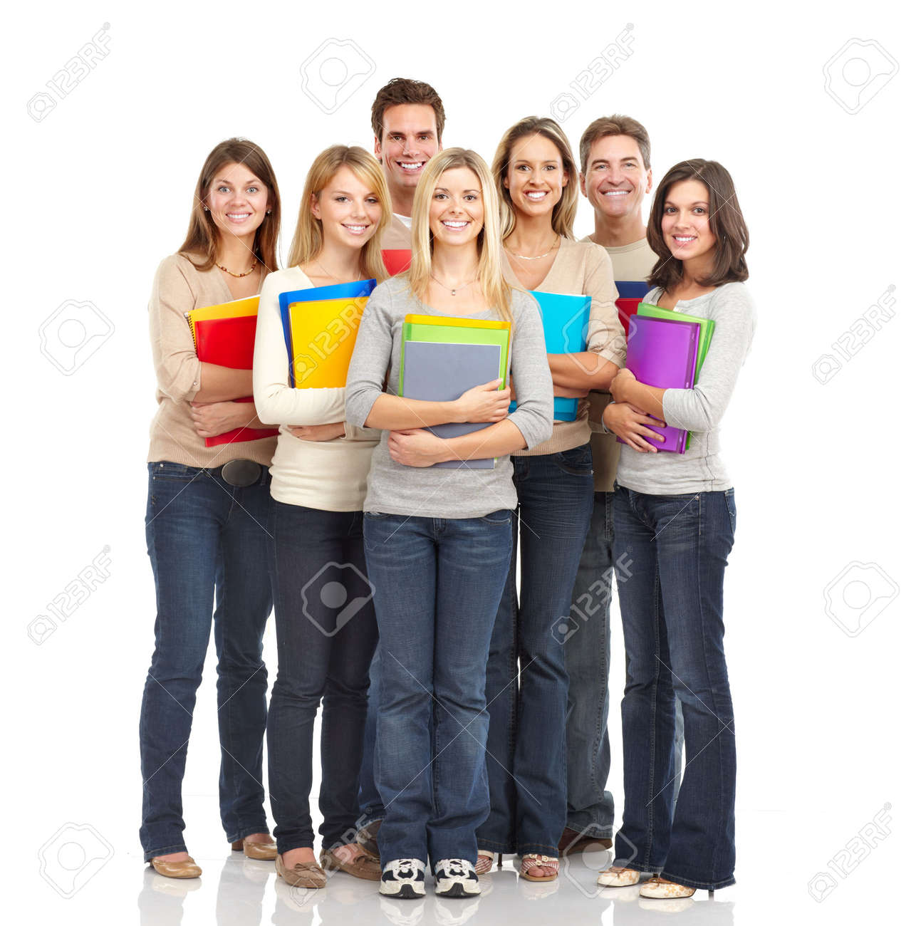 Large group of smiling  students. Isolated over white background Stock Photo - 6744449