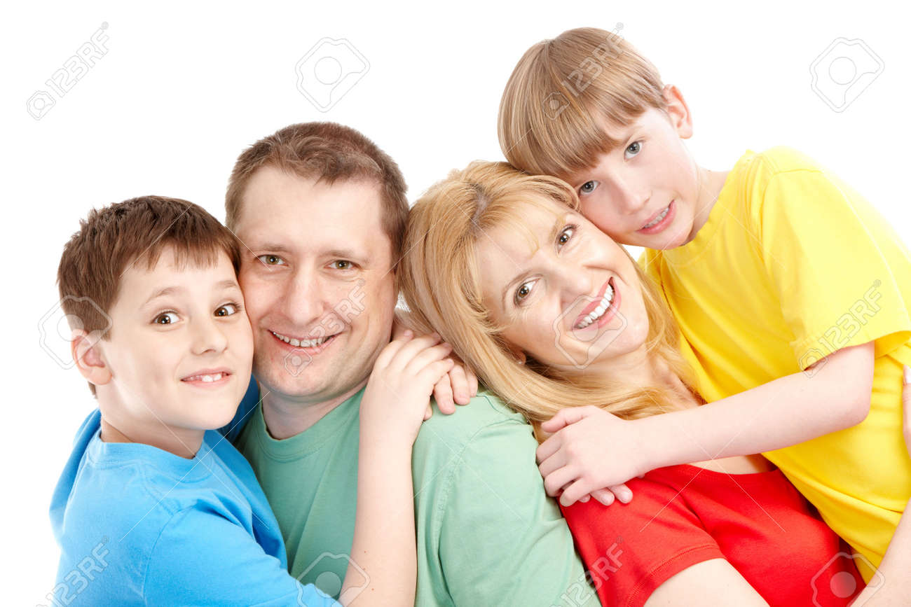 Happy family. Father, mother and boy. Over white background Stock Photo - 6756219
