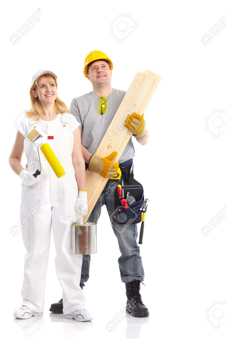 Smiling builder people. Isolated over white background Stock Photo - 6757861