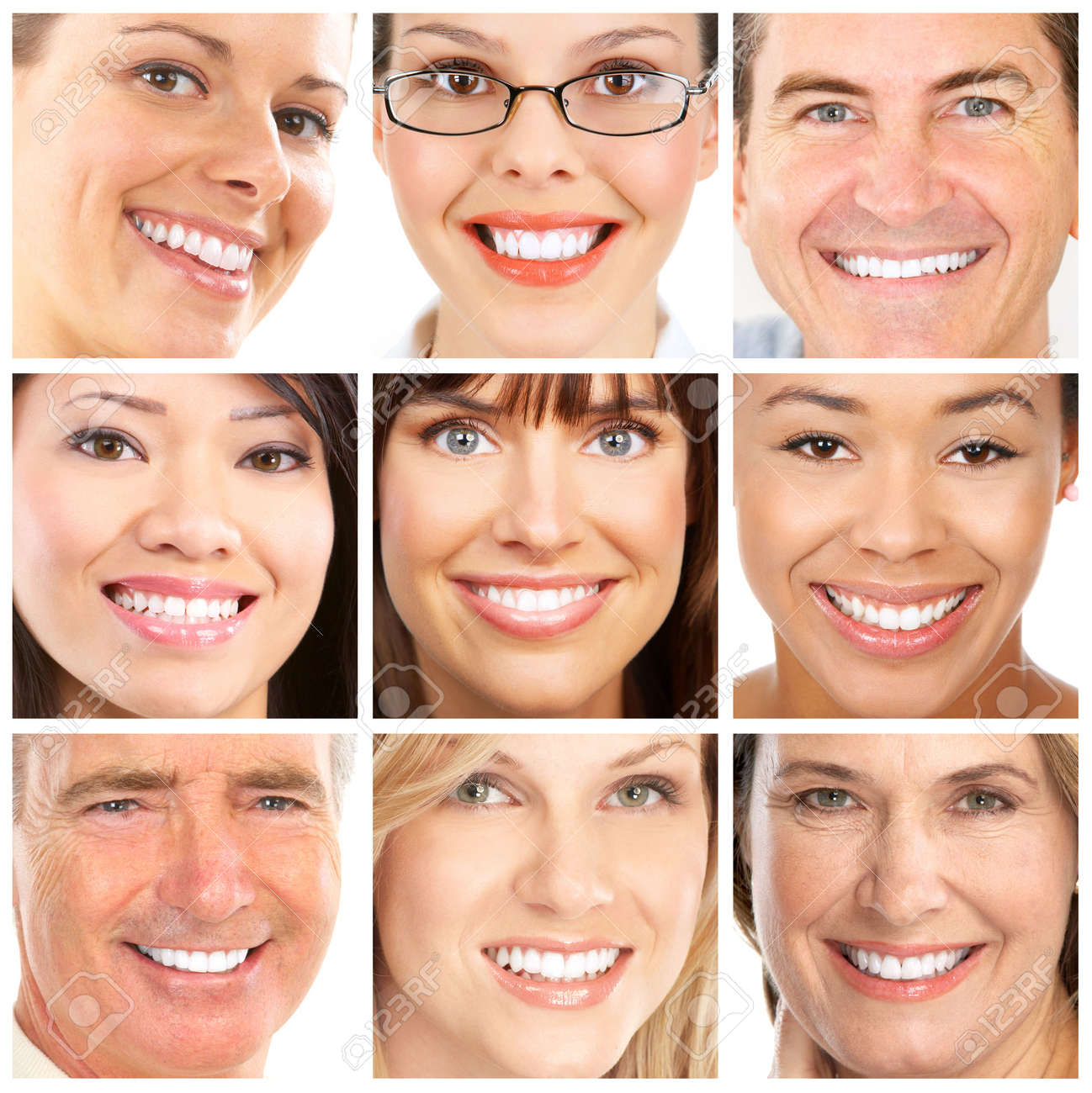 faces of smiling people healthy teeth smile stock photo picture