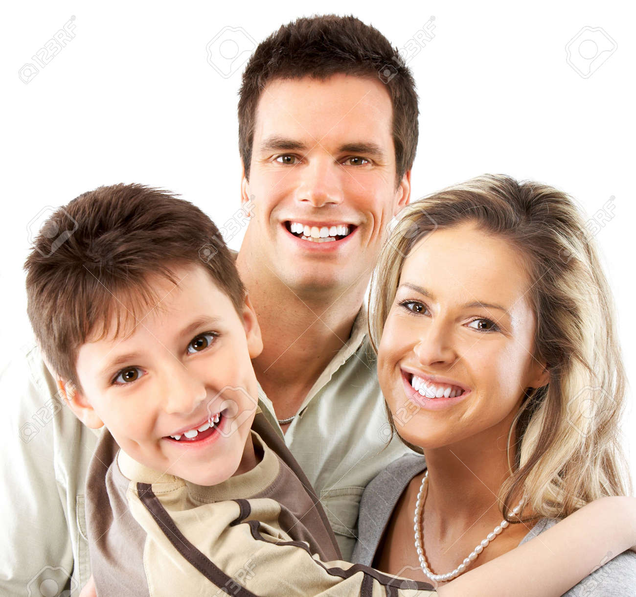 Happy family. Father, mother and boy. Over white background Stock Photo - 6849511