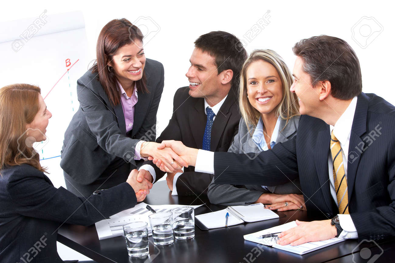 Smiling business people team working in the office Stock Photo - 6817258