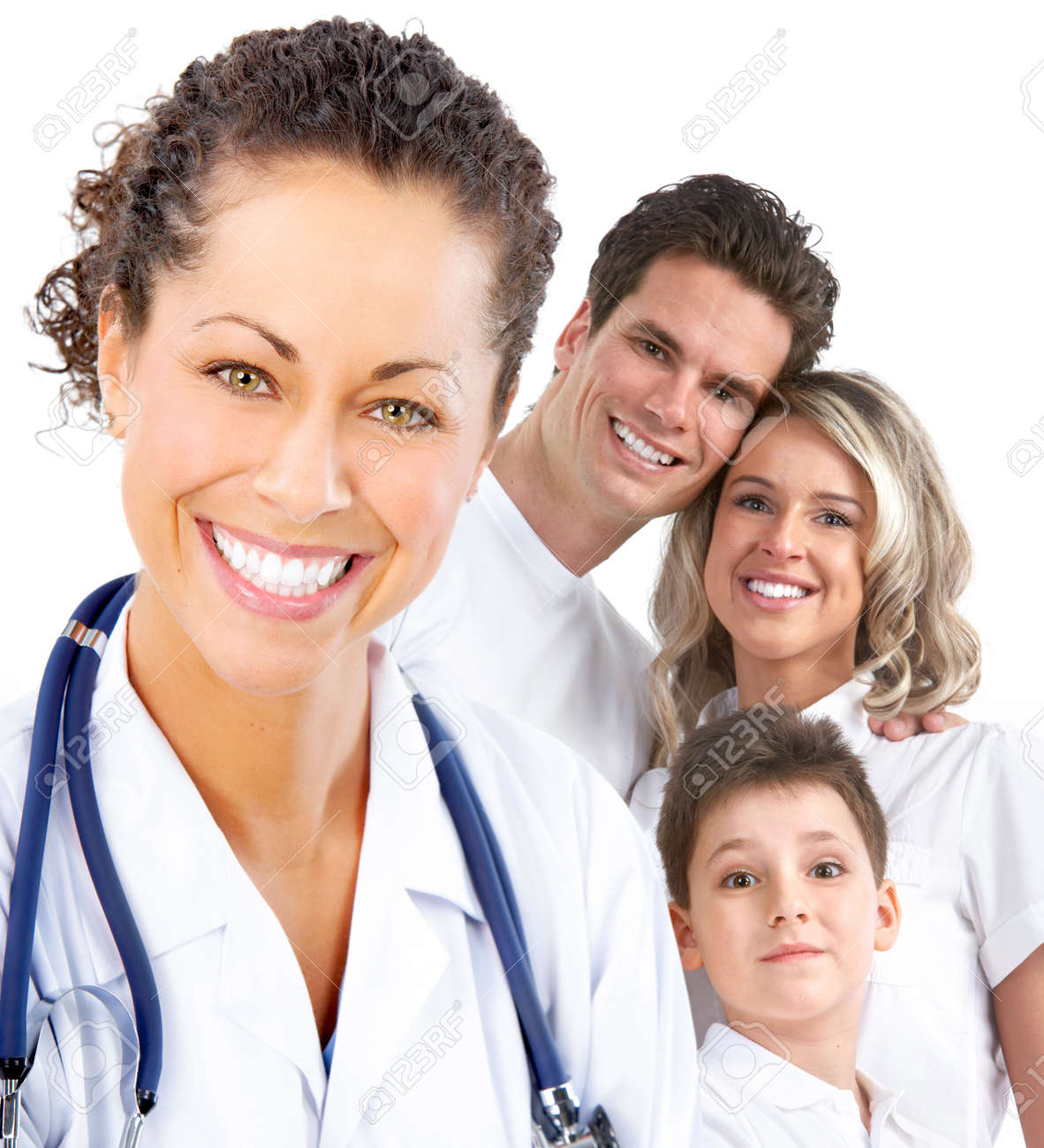 Smiling family medical doctor and young family. Over white background Stock Photo - 6817911