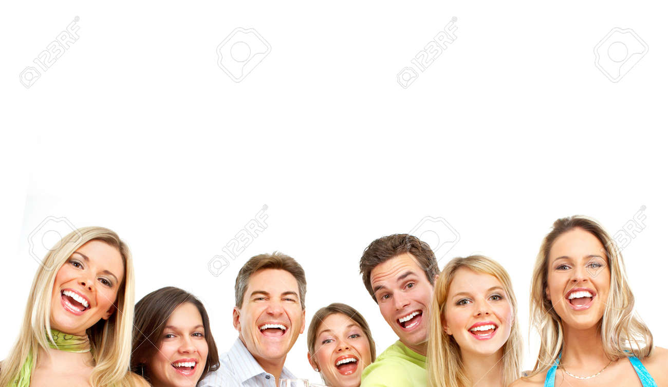 Happy funny people. Isolated over white background - 7123950