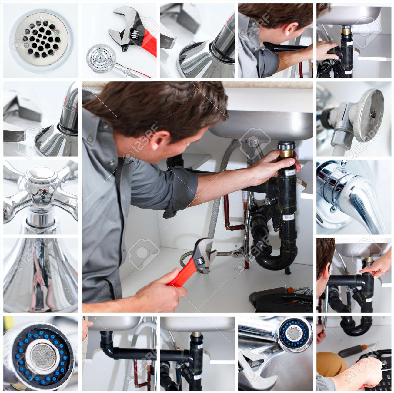 Young plumber fixing a sink Stock Photo - 6925323