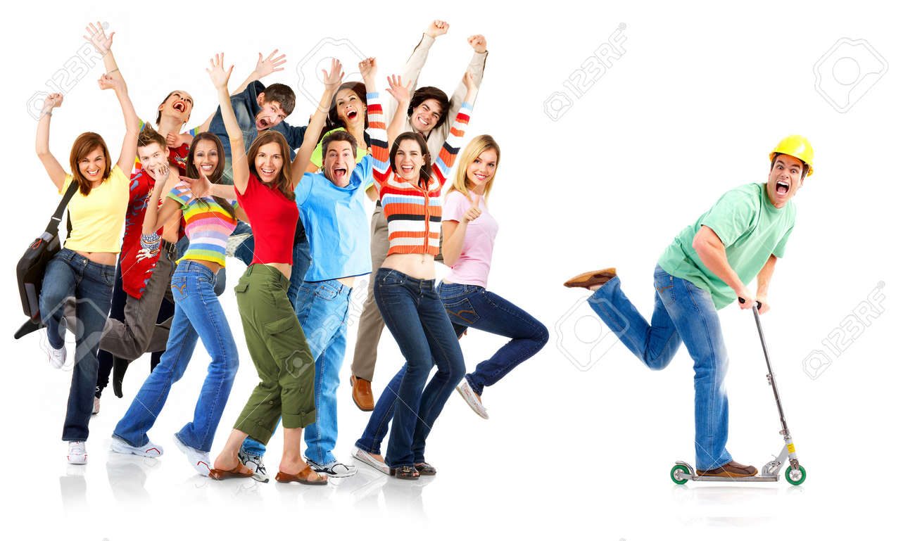 Happy funny people. Isolated over white background Stock Photo - 7088160