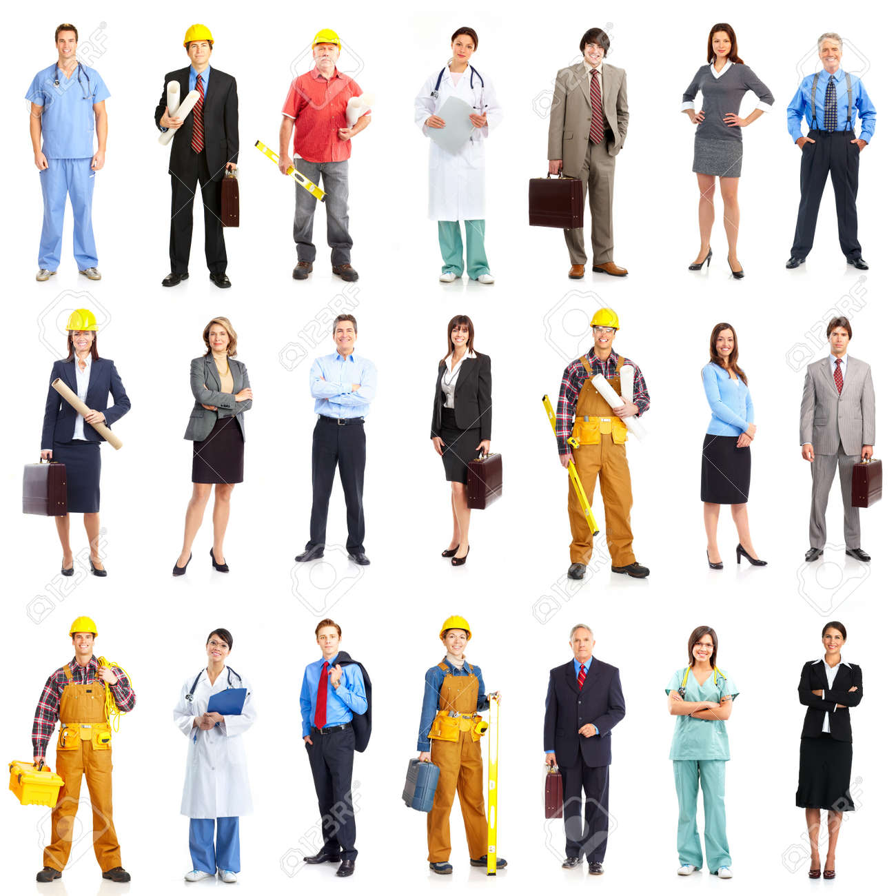 Business People, Builders, Nurses, Doctors, Workers. Isolated Over White  Background Stock