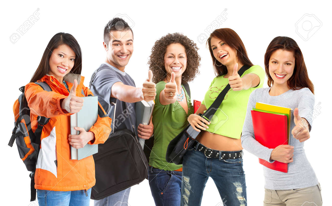 group of smiling  students. Isolated over white background Stock Photo - 7135708