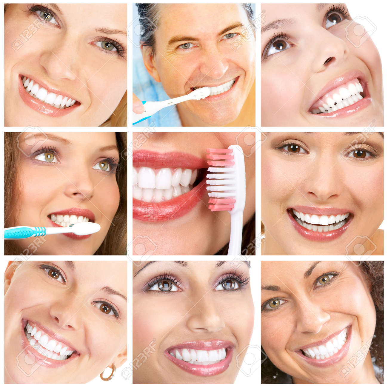 Smiles ans teeth. Faces of smiling people. Teeth care. Smile Stock Photo - 7135782