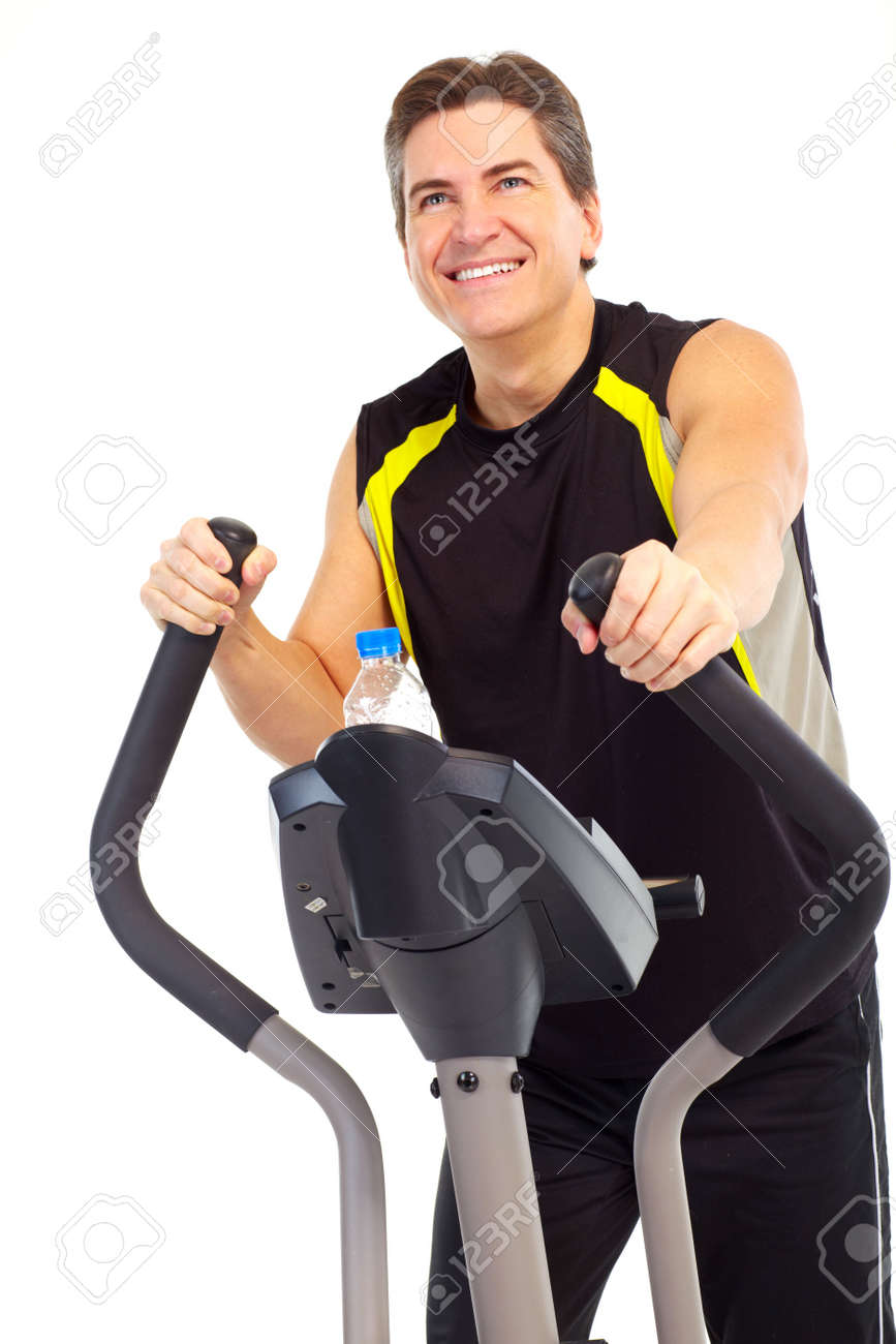 Smiling mature strong man working out. Isolated over white background Stock Photo - 7184577
