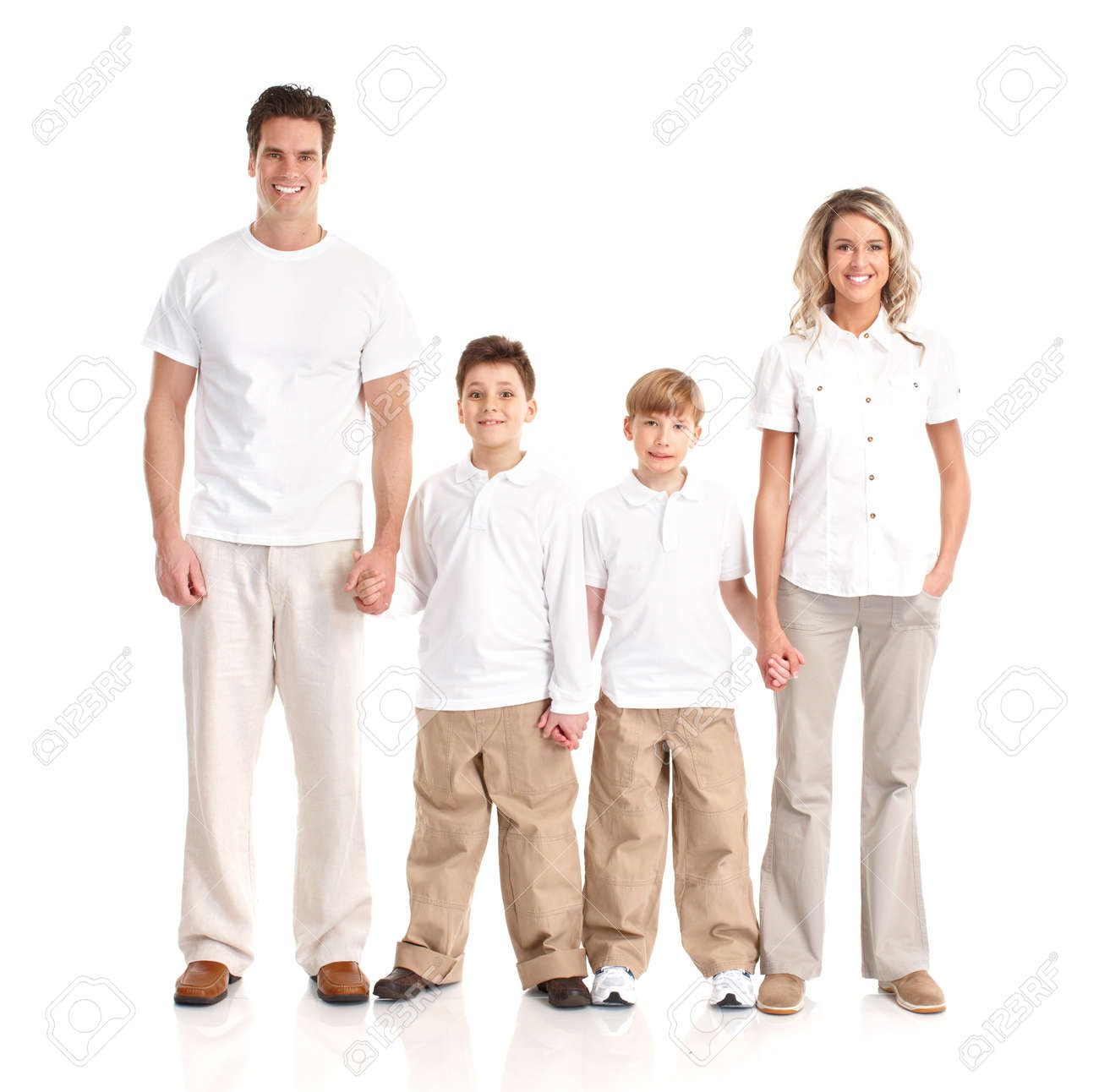 Happy family. Father, mother and children. Over white background Stock Photo - 7239346