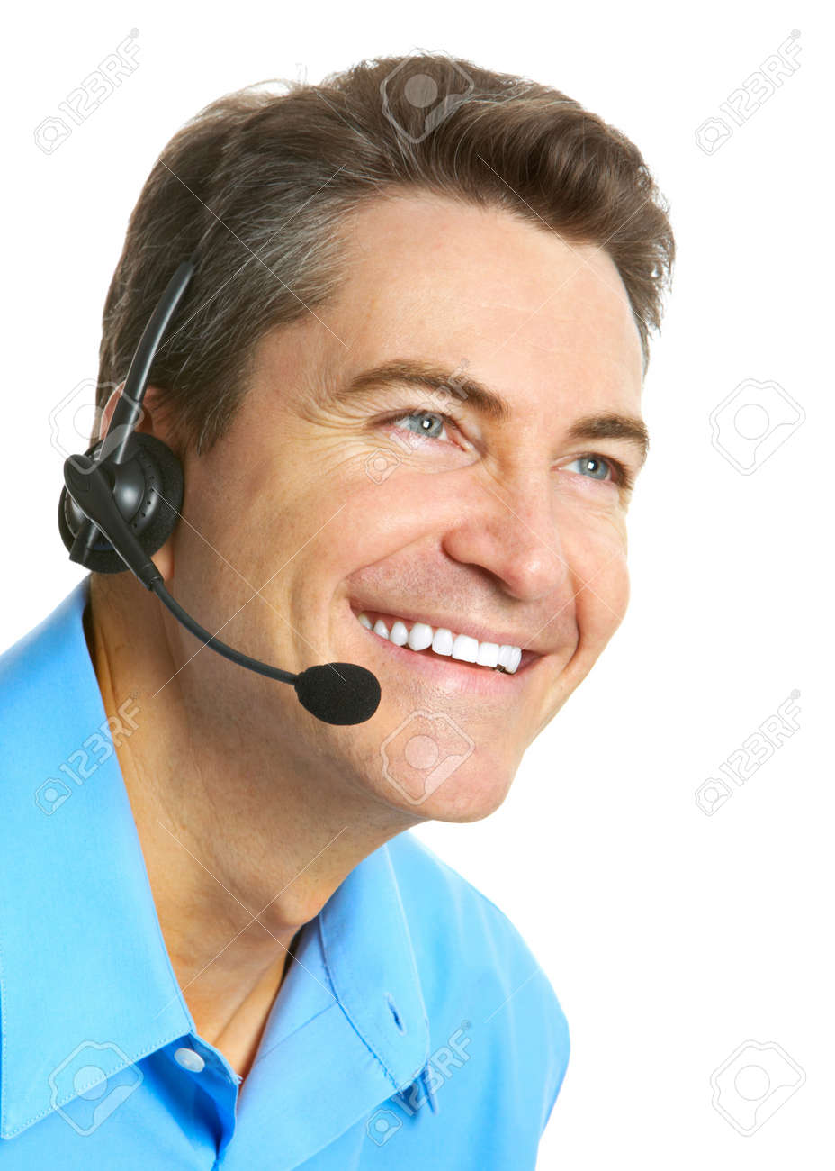 Smiling customer service operator. Over white background Stock Photo - 7251920