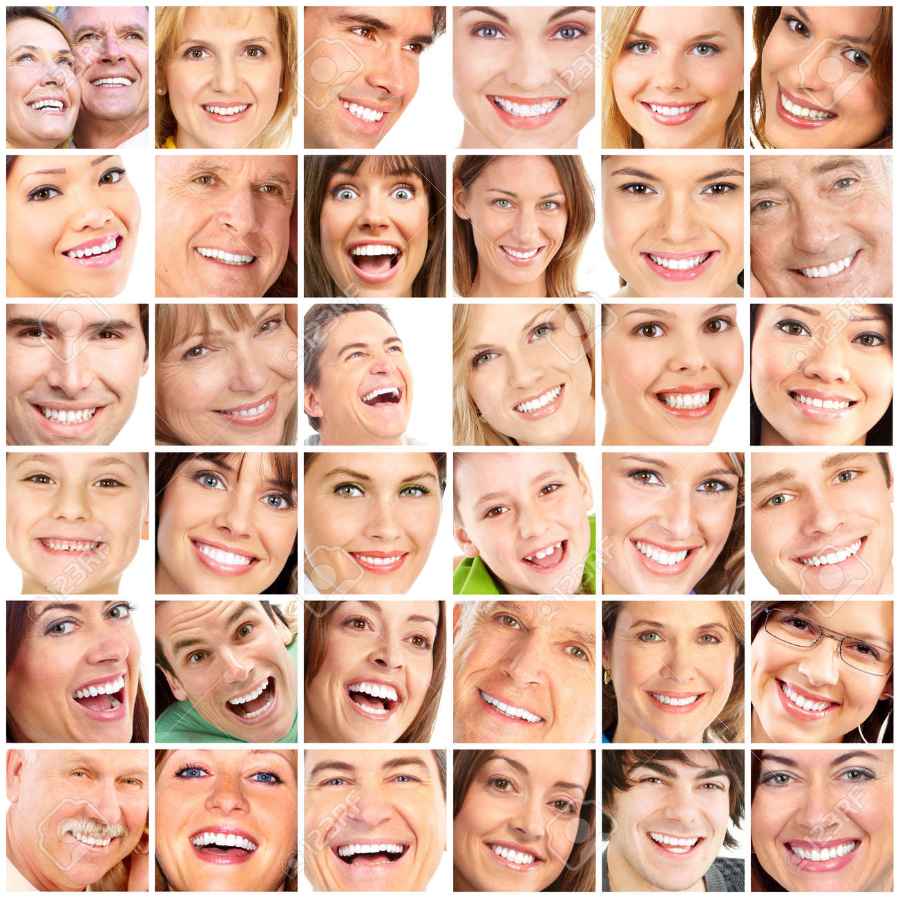 Faces of smiling people. Teeth care. Smile Stock Photo - 7317275