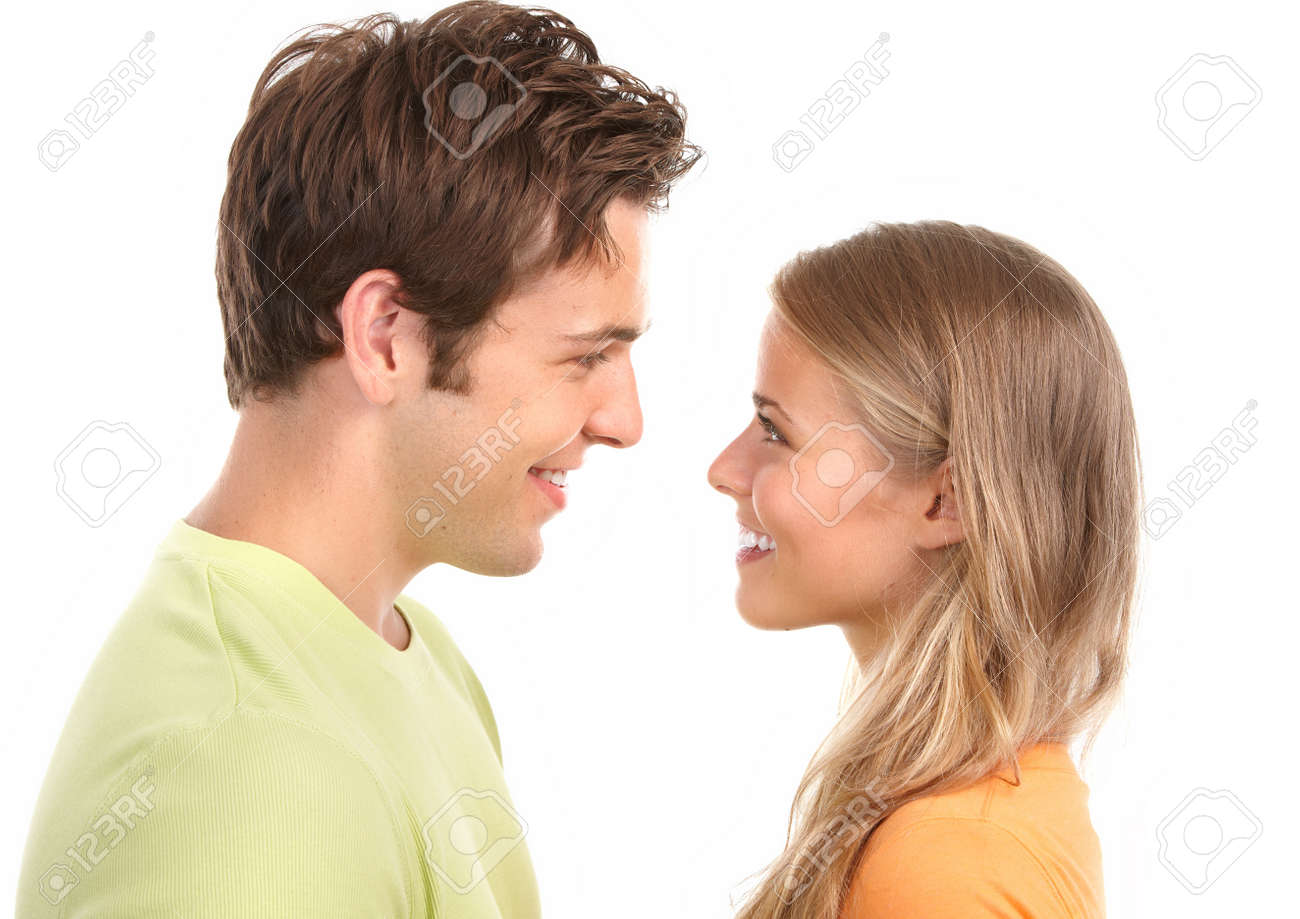 Happy smiling couple in love. Over white background Stock Photo - 7465801