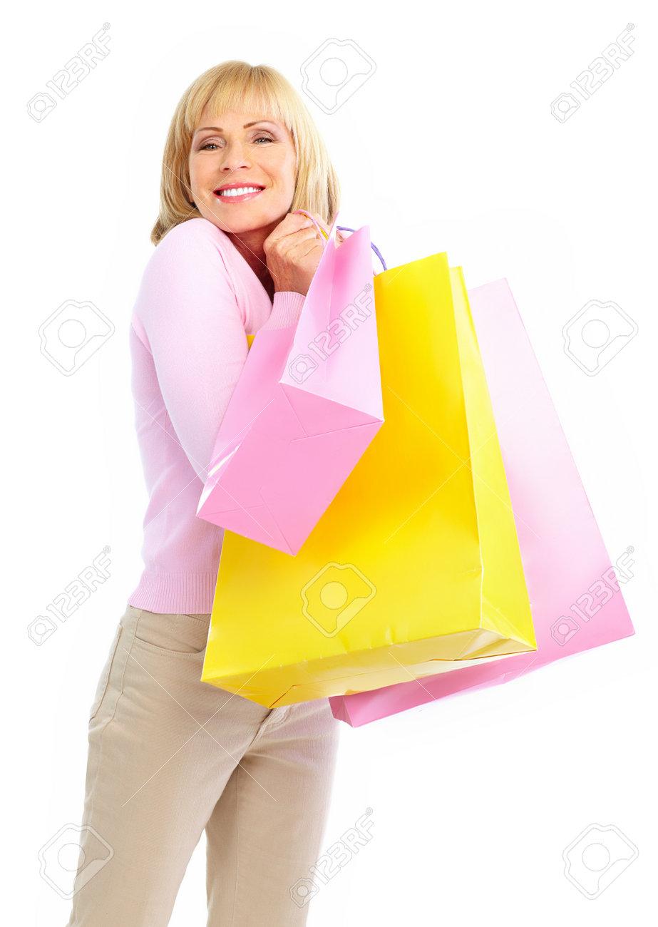 Shopping happy  elderly woman. Isolated over white background Stock Photo - 7465743