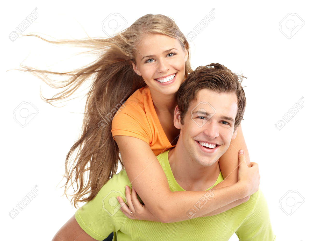 Happy smiling couple in love. Over white background Stock Photo - 7465744