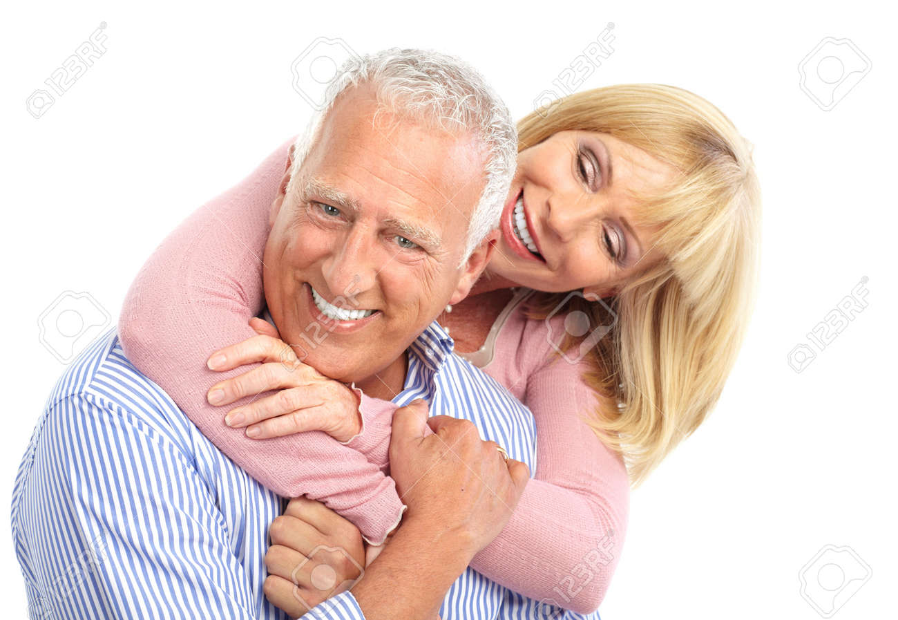 Senior couple in love. Isolated over white background Stock Photo - 7498092