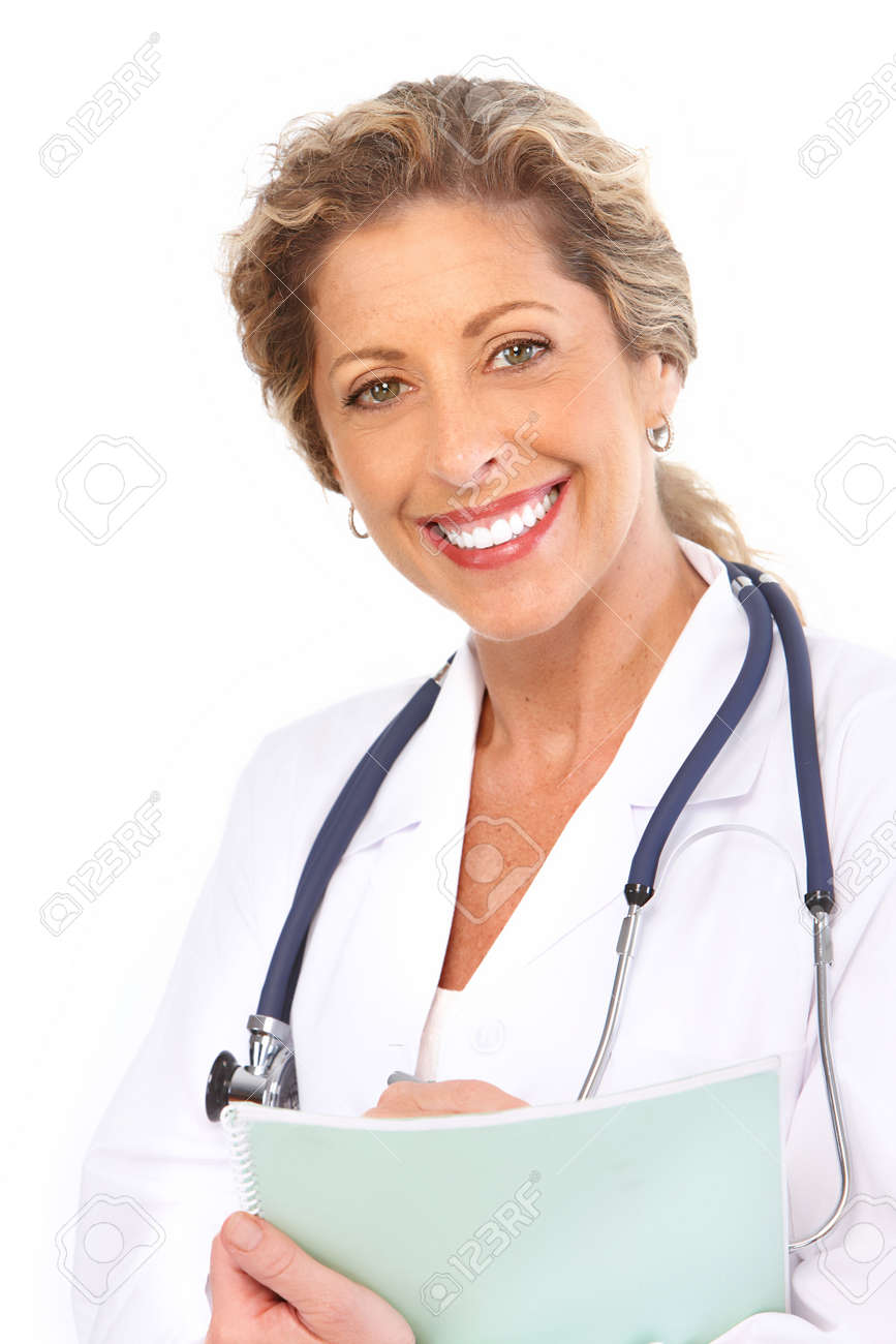 Smiling medical doctor with stethoscope. Isolated over white background Stock Photo - 7578734