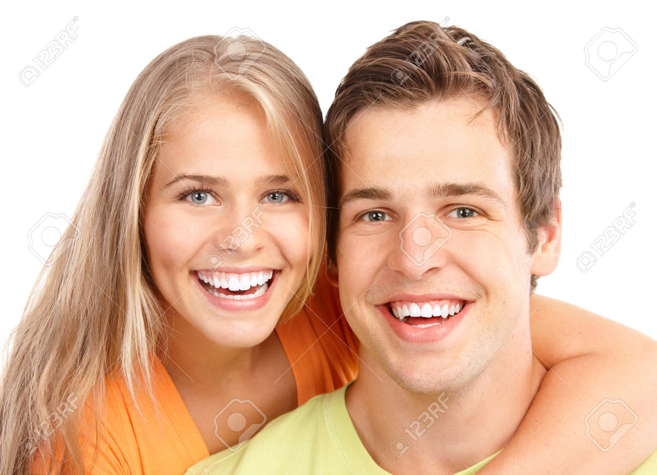 Happy smiling couple in love. Over white background - 7635100