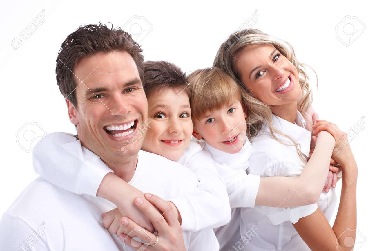 Happy family. Father, mother and children. Over white background Stock Photo - 7635178