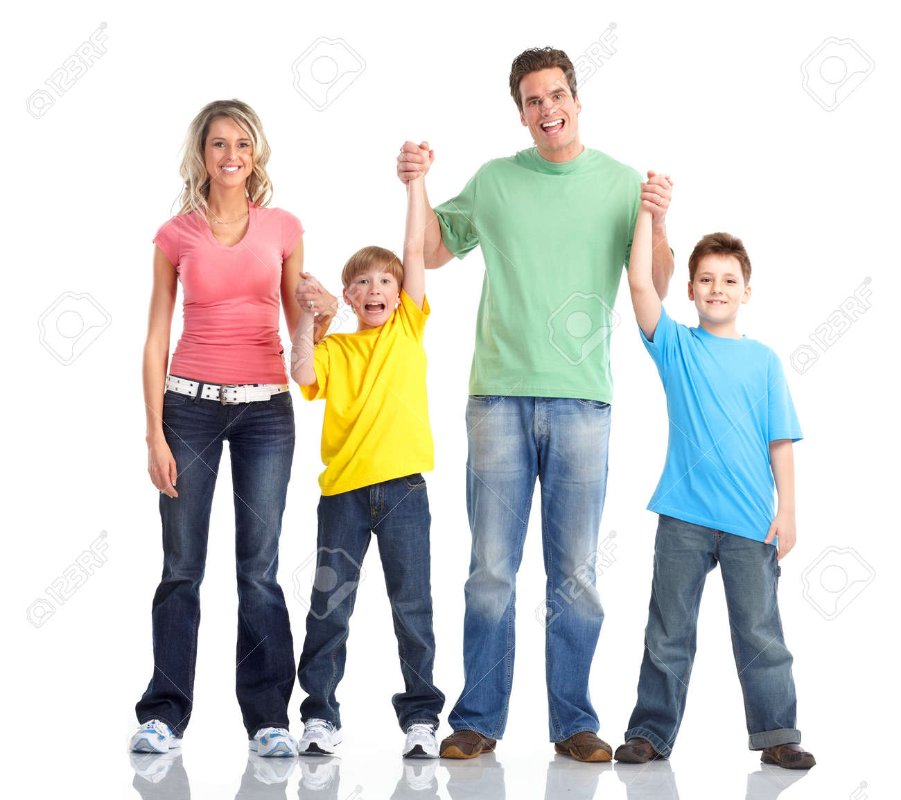 Happy family. Father, mother and children. Over white background Stock Photo - 7635150