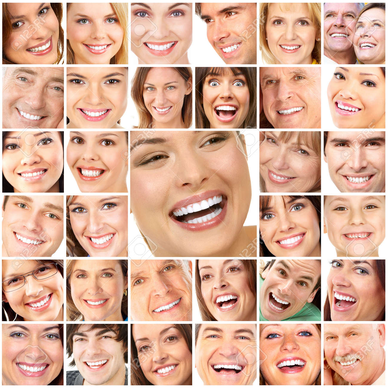 Faces of smiling people. Teeth care. Smile Stock Photo - 7635214
