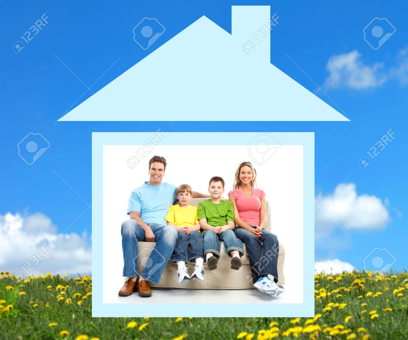 Young family in the new home.  Real estate concept Stock Photo - 7834027