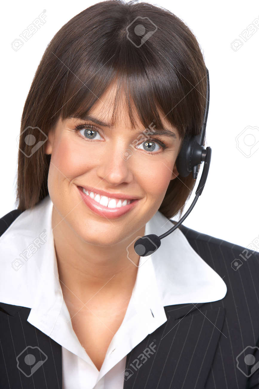 Beautiful  business woman with headset. Call Center Operator. Over white background Stock Photo - 7872747