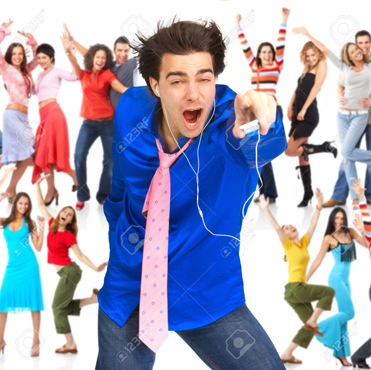 Happy young man with mp3-player and young people Stock Photo - 8074323