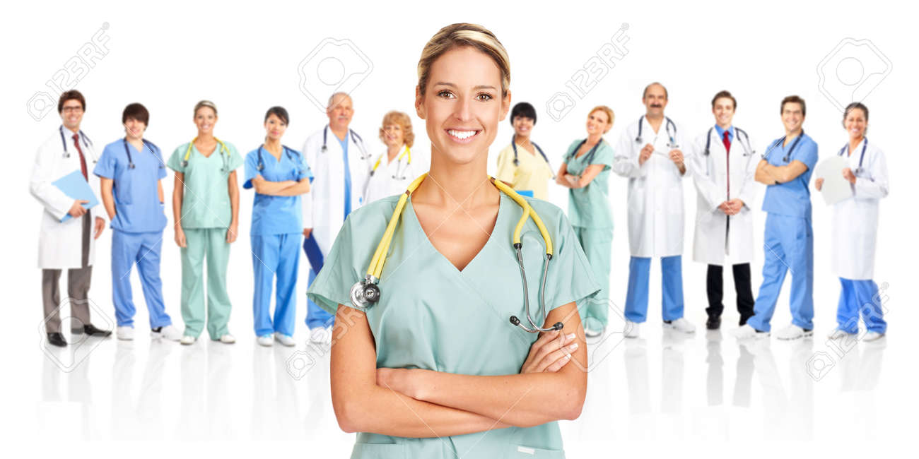 Smiling medical doctors with stethoscopes. Isolated over white background Stock Photo - 8074315