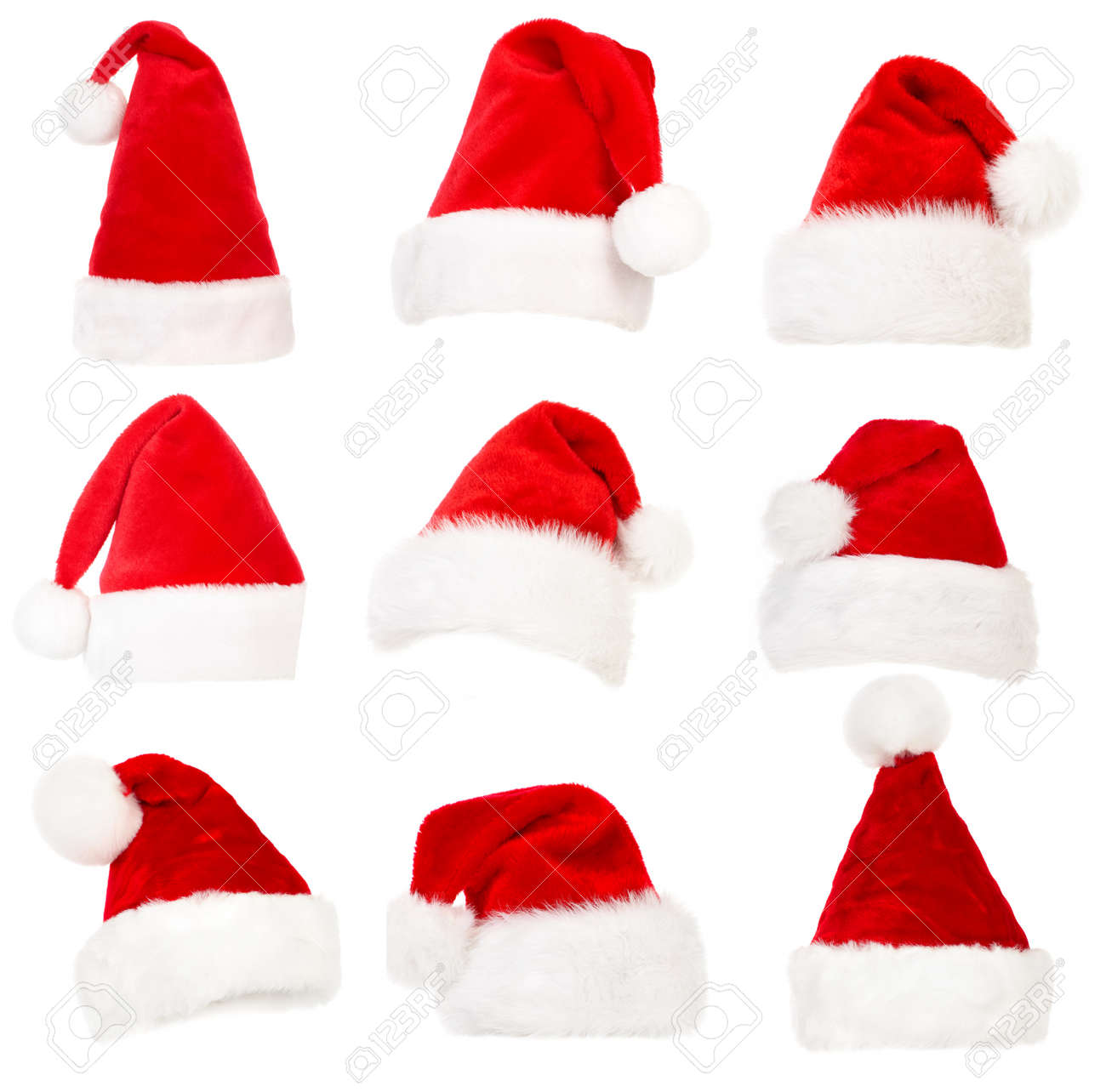 Christmas Hats.Set Of Santa Hats Isolated Over White Background