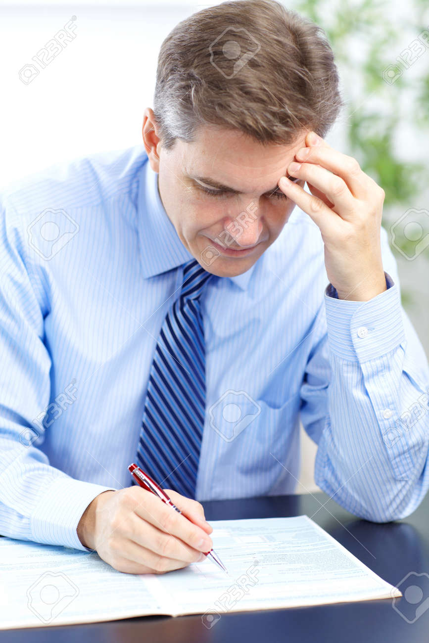 businessman  having stress in the office Stock Photo - 8459505