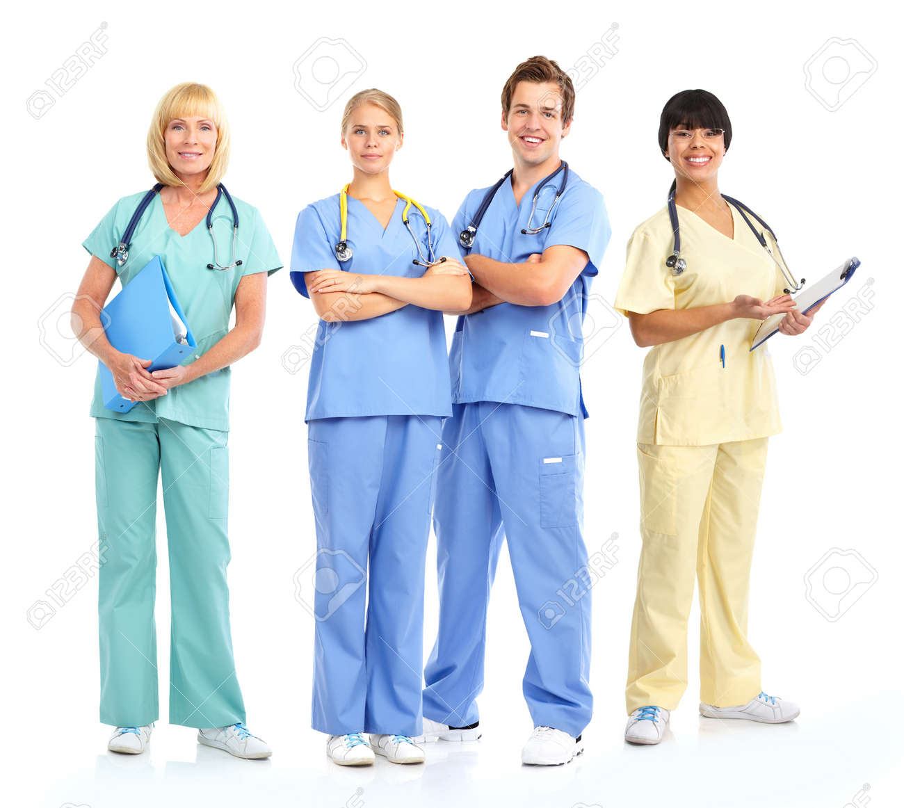 Smiling medical doctors with stethoscopes. Isolated over white background Stock Photo - 8459540