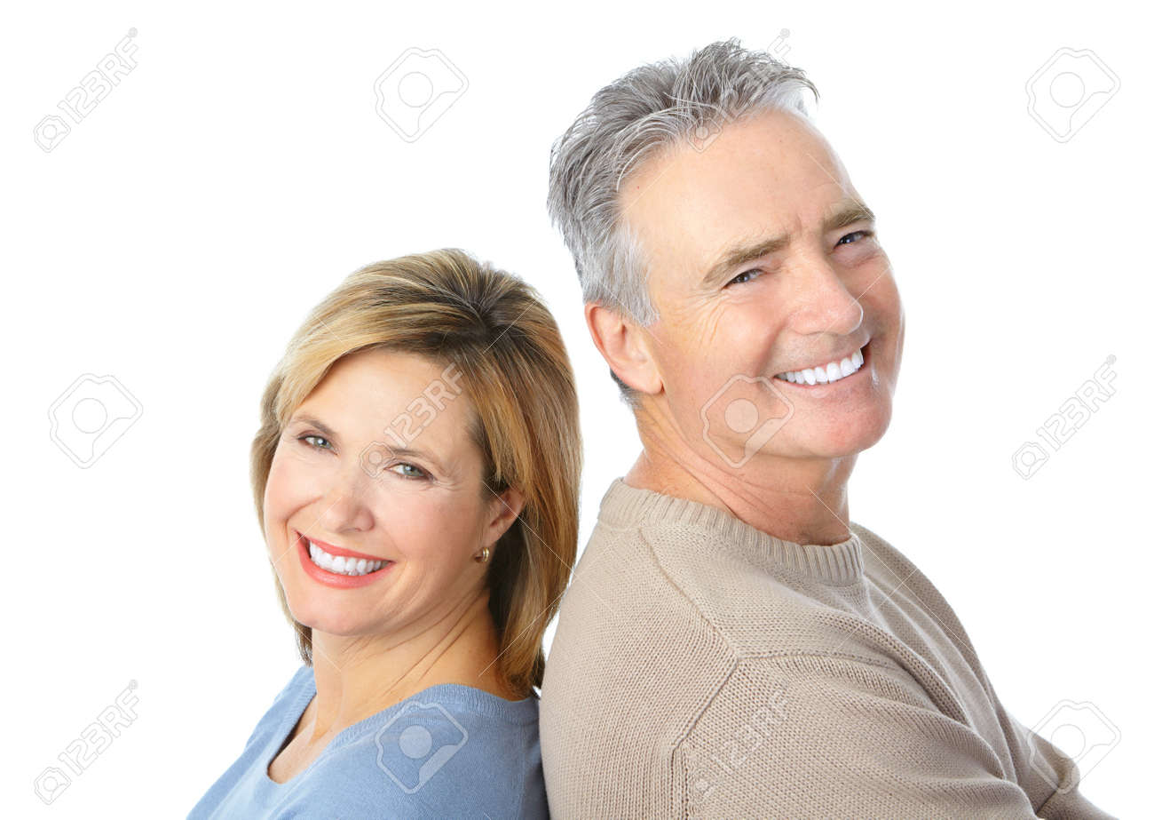 Happy seniors couple in love. Healthy teeth. Isolated over white background Stock Photo - 8554960